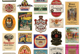 """Labels of spirits, wine and beer at the """"Spirited Republic"""" exhibit at the National Archives. (Courtesy National Archives)"""