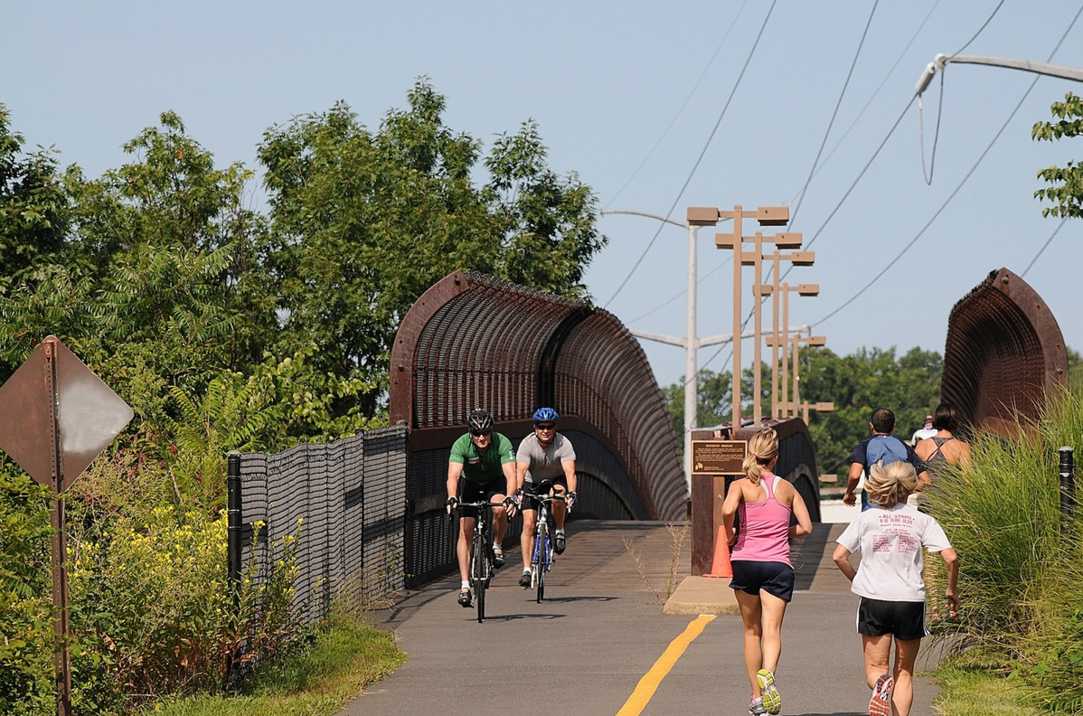 bicycling and running in Falls Church