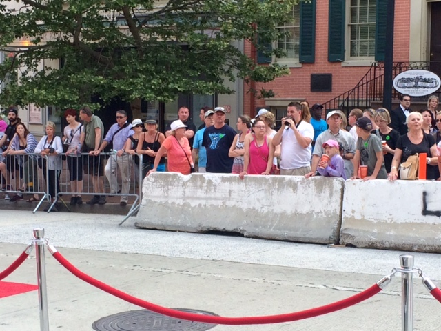Crowds gathered outside Ford's Theatre Sunday, May 31, 2015 in hopes of catching a glimpse of stars attending the gala. (WTOP/Jason Fraley)
