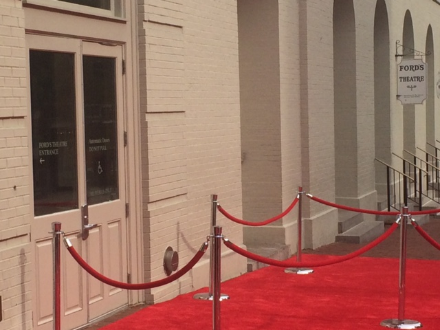 The red carpet is pictured here outside Ford's Theatre's entertainer-filled event Sunday, May 31, 2015. (WTOP/Jason Fraley)