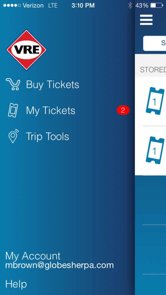 A screenshot of the VRE ticketing app. (VRE/Screenshot)