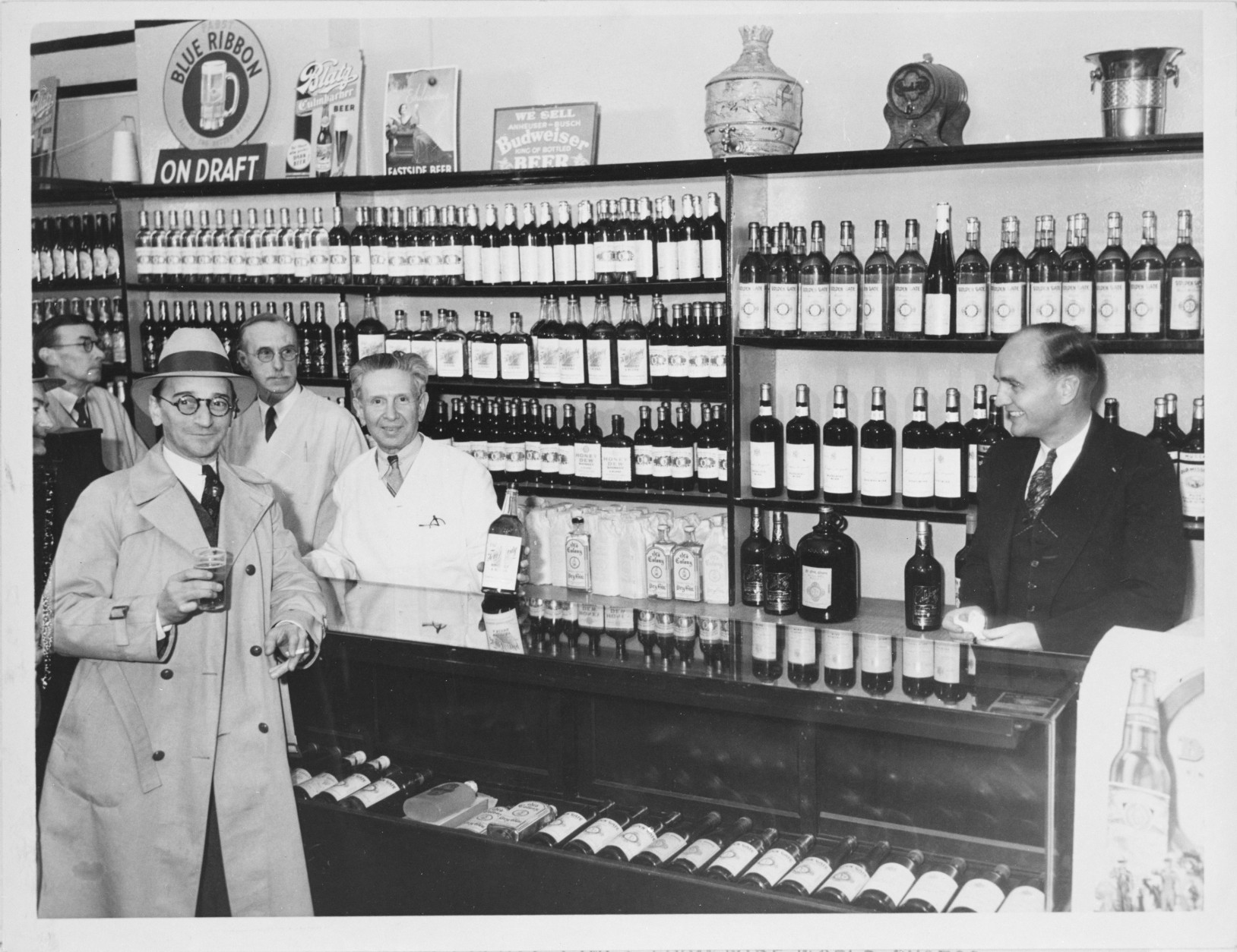A well-stocked Los Angeles store awaits repeal in December 1933. (Courtesy National Archives)
