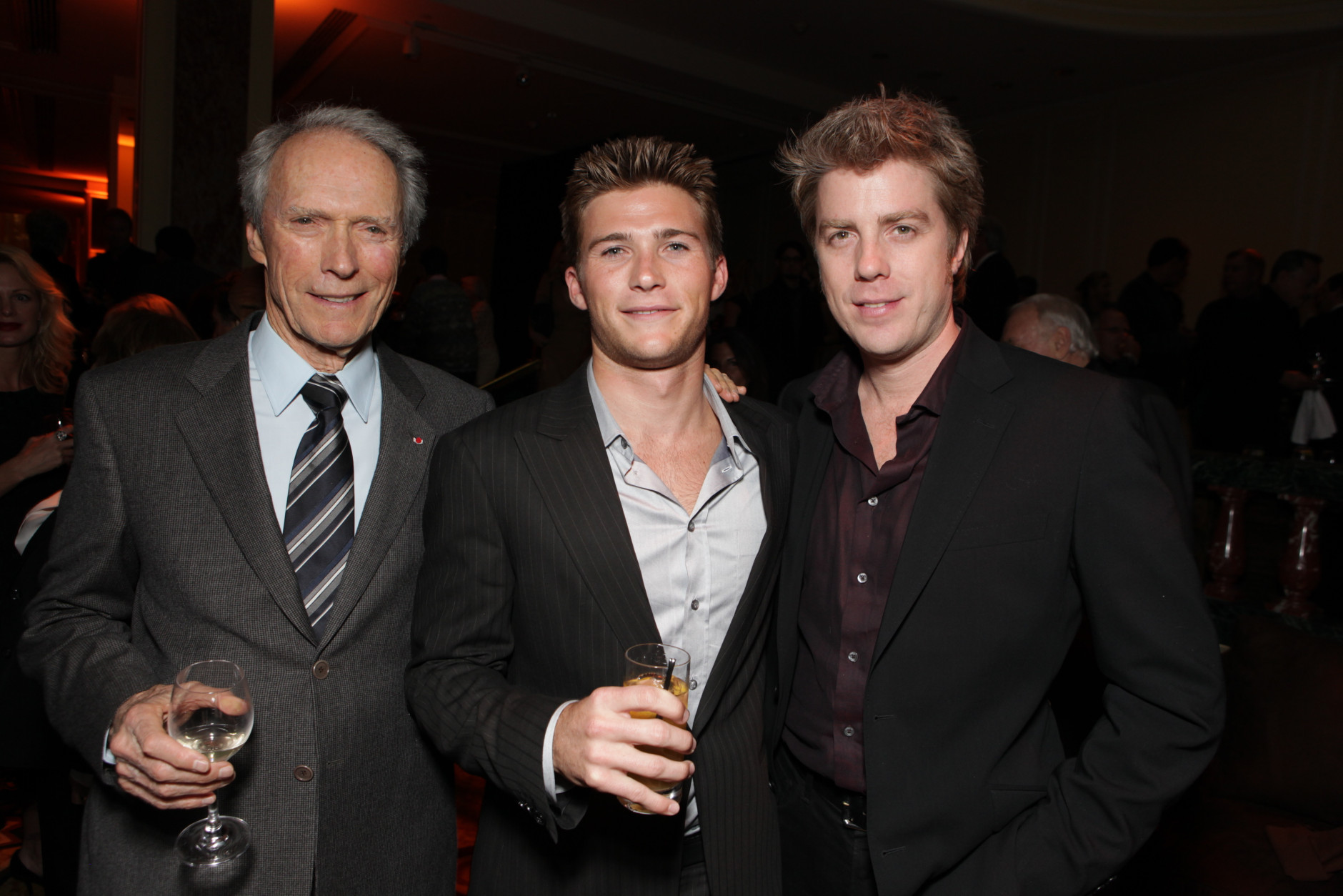 BEVERLY HILLS, CA - DECEMBER 03:**EXCLUSIVE** Director Clint Eastwood, Scott Eastwood and Kyle Eastwood at Warner Bros. Pictures Los Angeles Premiere of 'Invictus' on December 03, 2009 at the Academy of Motion Picture Arts & Sciences in Beverly Hills, California. (Photo by Eric Charbonneau/Invision/AP Images)