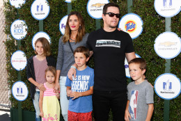 Rhea Durham, from left to right,  Mark Wahlberg and kids attends Safe Kids Day LA Event at The Lot on Sunday, April 26, 2015 in West Hollywood, Calif. (Photo by John Salangsang/Invision/AP)