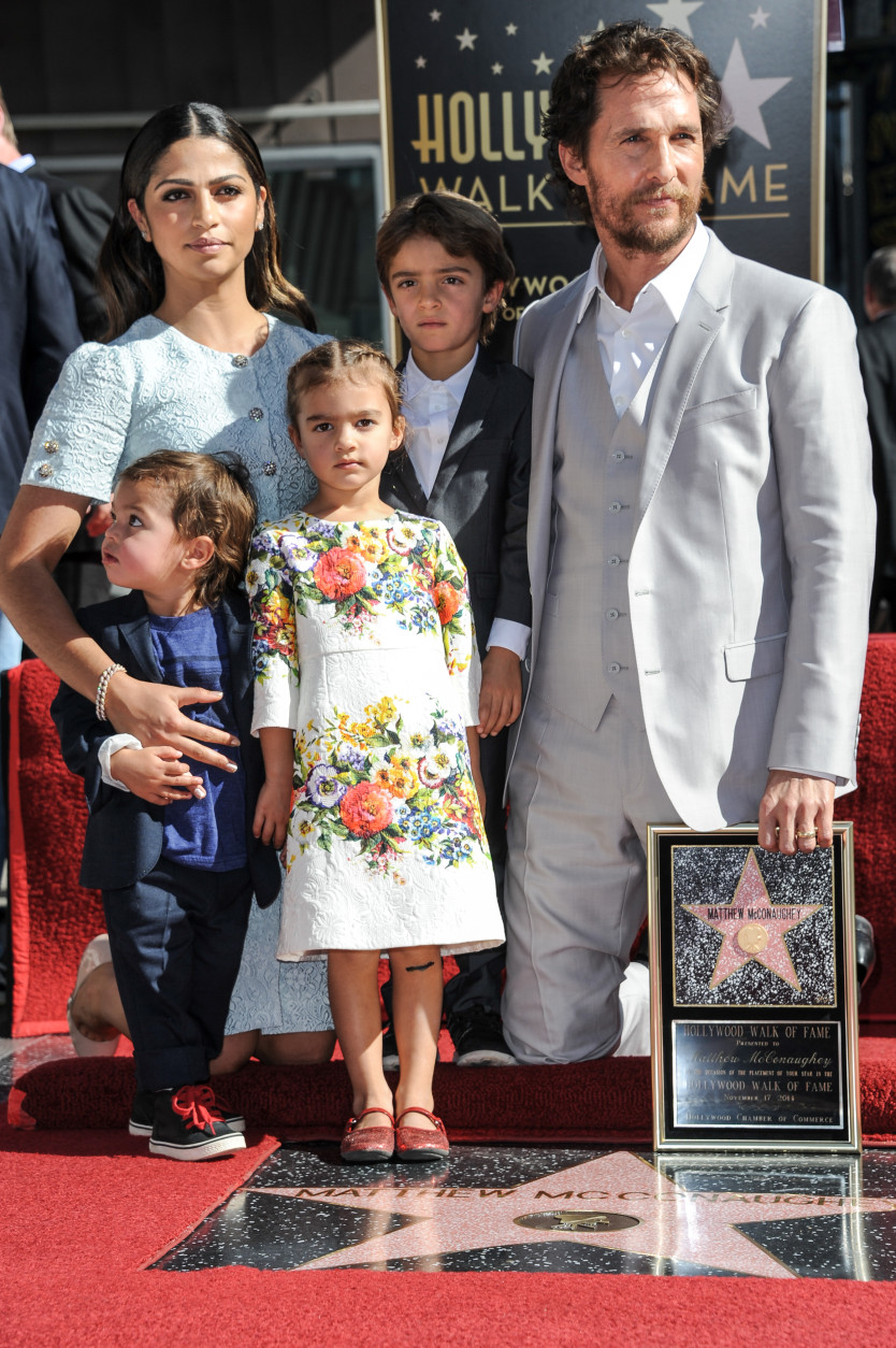 Matthew McConaughey, right, and his wife Camila Alves, with children, from left, Livingston Alves McConaughey, Levi Alves McConaughey, and Vida Alves McConaughey attend the ceremony honoring Matthew McConaughey With A Star On The Hollywood Walk Of Fame on Monday, Nov 17, 2014, in Los Angeles (Photo by Richard Shotwell/Invision/AP)
