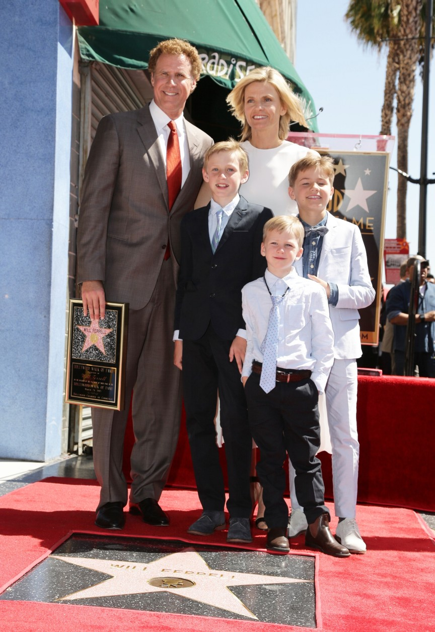 Will Ferrell, Magnus Ferrell, Viveca Ferrell, Axel Ferrell and Mattias Ferrell seen at a ceremony honoring Will Ferrell with a star on The Hollywood Walk of Fame on Tuesday, March 24, 2015, in Hollywood, CA. (Photo by Eric Charbonneau/Invision for Warner Bros./AP Images)