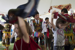Children learn a Peruvian dance at the Smithsonian Folklife Festival in Washington, Wednesday, June 24, 2015. (AP Photo/Molly Riley)