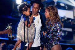 INGLEWOOD, CA - AUGUST 24:  Rapper Jay Z and singer Beyonce with daughter Blue Ivy Carter onstage during the 2014 MTV Video Music Awards at The Forum on August 24, 2014 in Inglewood, California.  (Photo by Mark Davis/Getty Images)