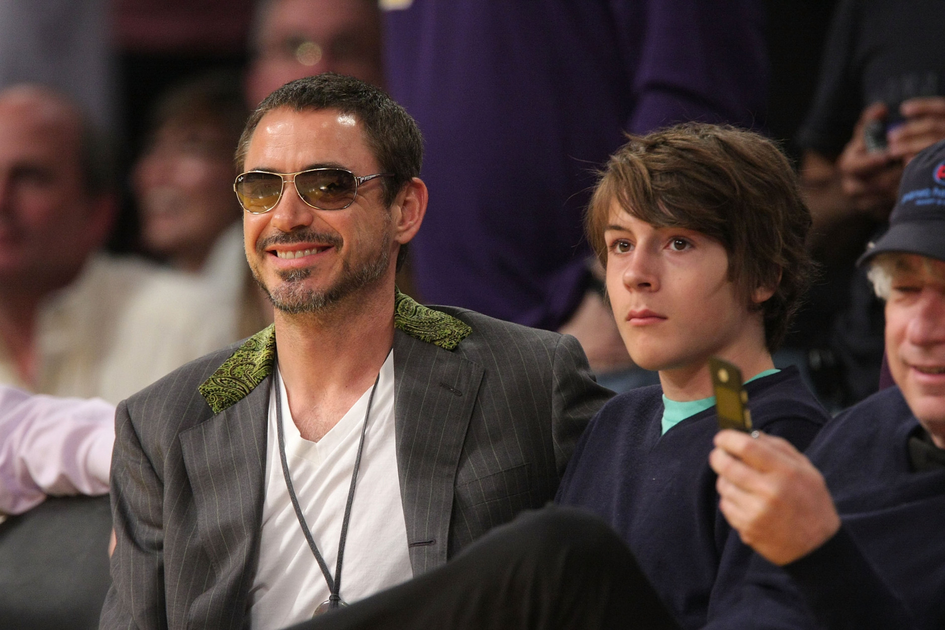 LOS ANGELES, CA - MAY 04:  Robert Downey Jr. (L) and his son Indio Downey (R) attend the Los Angeles Lakers against Utah Jazz playoff game at the Staples Center on May 4, 2008 in Los Angeles, California.  (Photo by Noel Vasquez/Getty Images)