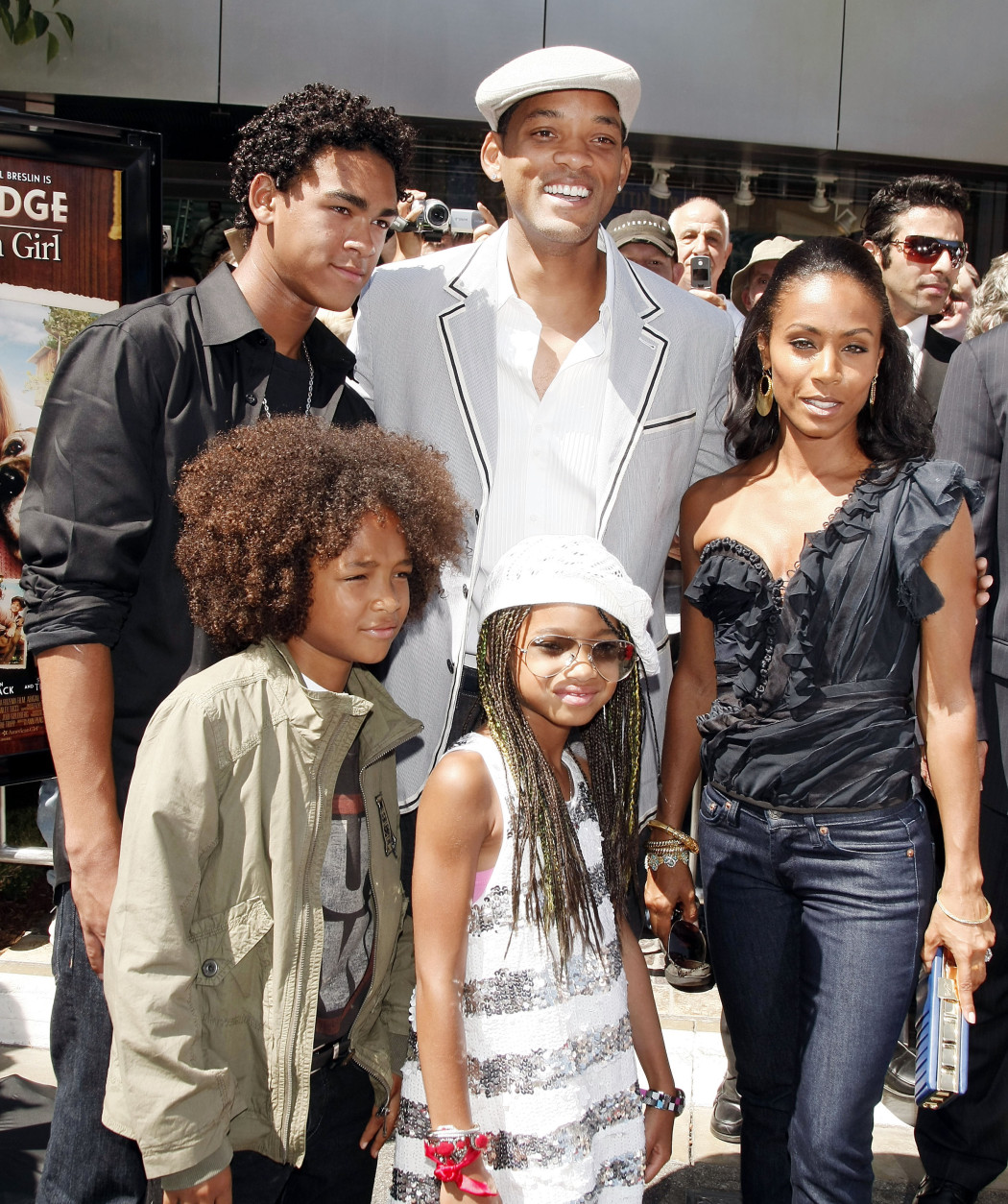 "LOS ANGELES, CA - JUNE 14:  Actors Will Smith (rear, center), Jada Pinkett Smith (R) and their sons Trey (L), Jaden and daughter Willow (front, center) arrive at the premiere of Picturehouse's ""Kit Kittridge: An American Girl"" at The Grove on June 14, 2008 in Los Angeles, California.  (Photo by Kevin Winter/Getty Images)"