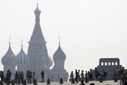 FILE - In this July 29, 2010 file photo, Moscow's St. Basil's cathedral, background, is seen through the smog covering Moscow, as a heat wave hit central Russia breaking temperature records. Daily weather patterns have changed in the last couple decades making eastern North America, Europe and western Asia more prone to nastier summer heatwaves on top of global warming, a new study finds. A team of climate scientists at Stanford University looked at weather patterns since 1979 and found changes in frequency and strength in parts of the world, according to a study in Wednesday's journal Nature. These are the types of weather patterns with stuck high and low pressure systems that you see on weather forecasts, which is different than gradual warming from man-made climate change. (AP Photo/Misha Japaridze, File)