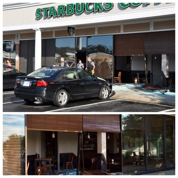 Car plows into Alexandria Starbucks