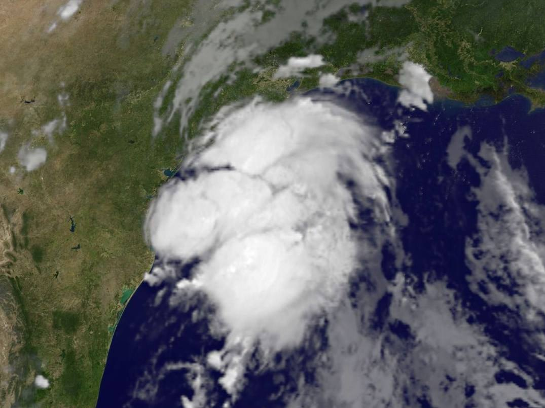 This satellite image shows Tropical Storm Bill as it approached the eastern Texas coast.  (NBC Washington)