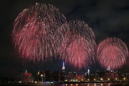 Fireworks explode over the East River in front of the Manhattan skyline as seen from the Brooklyn borough of New York during the Macy's Fourth of July fireworks show Saturday, July 4, 2015. (AP Photo/Jason DeCrow)