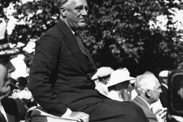On this day in 1944, President Franklin D. Roosevelt was nominated for a fourth term of office at the Democratic convention in Chicago.This is an undated photo of Roosevelt at Campobello Island, off the coast of New Brunswick, Canada. (AP Photo)