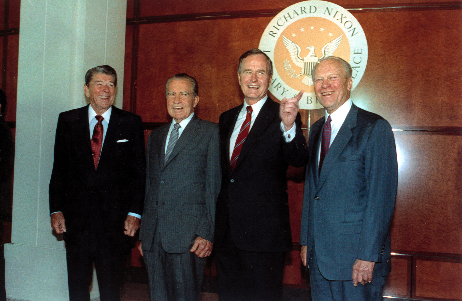 Former U.S. presidents Ronald Reagan, left, Richard Nixon, and Gerarld Ford, far right, pose with U.S. President George Bush, second from right, in the Richard Nixon Library and Birthplace in Yorba Linda, Ca., July 19, 1990.  (AP Photo/Barry Thumma)
