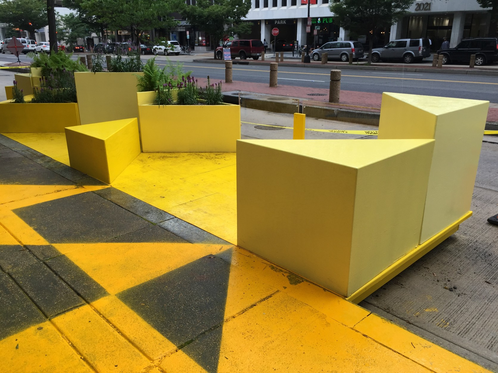 The parklet by 2020 K Street will remain until October. (WTOP/Andrew Mollenbeck)