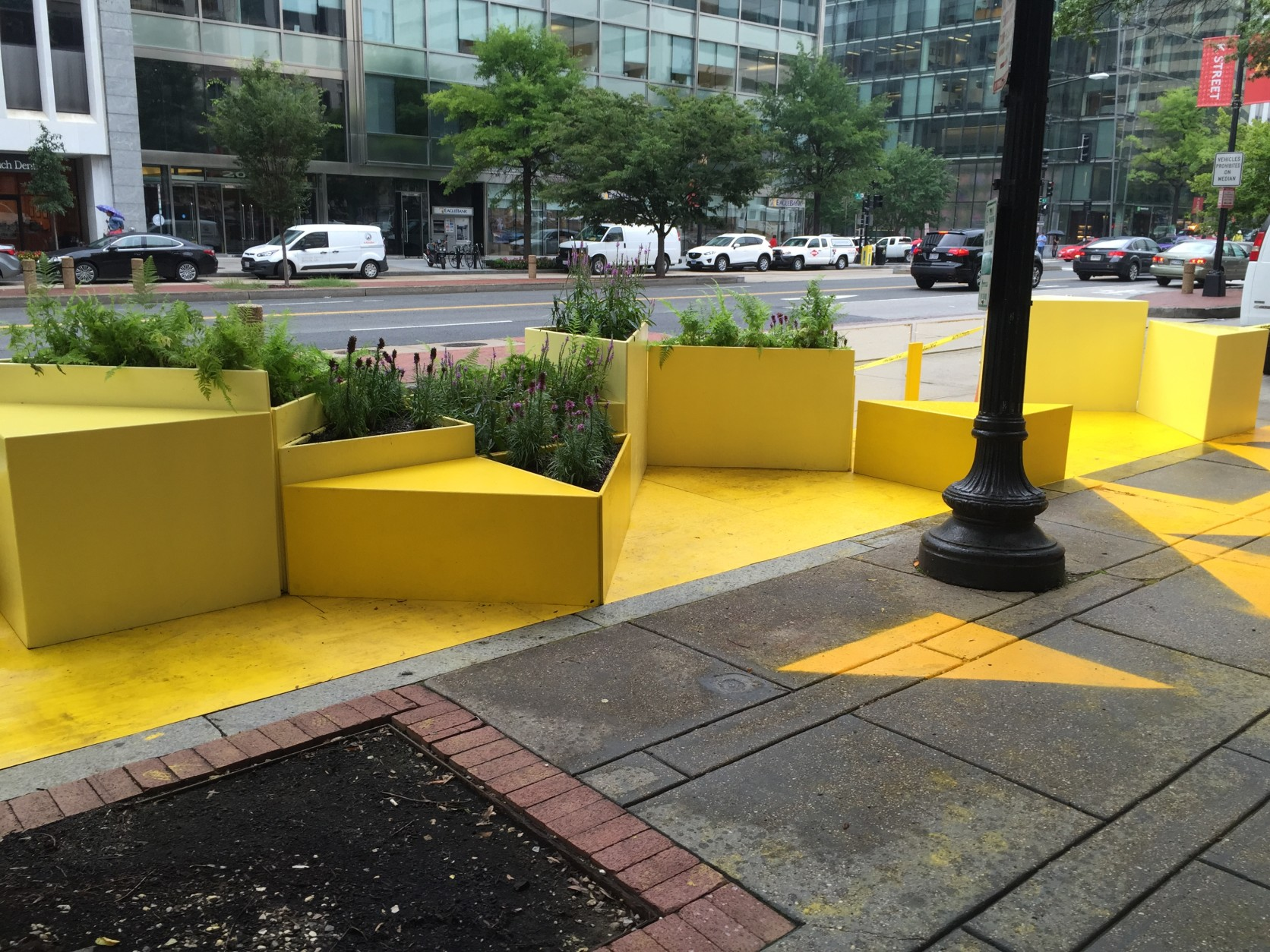 The parklet takes up two metered spaces along the K Street Corridor.