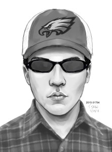 A police sketch of the suspect in the hammer attack on a clerk at a store in the Leesburg Corner Premium Outlets. (Courtesy of the Leesburg Police Department)