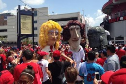 The Racing Presidents -- dressed in Star Wars costumes -- greeted fans at Nationals Park on Sunday, July 19, 2015. (Courtesy Washington Nationals)