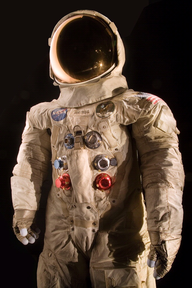 FILE --- This photo provided by the National Air and Space Museum, Smithsonian Institution shows the spacesuit worn by astronaut Neil Armstrong, Commander of the Apollo 11 mission, which landed the first man on the moon on July 20, 1969. The National Air and Space Museum is launching a crowdfunding campaign to conserve the spacesuit Neil Armstrong wore on the moon. The campaign begins Monday, marking 46 years since Armstrong's moonwalk in 1969. Conservators say spacesuits were built for short-term use with materials that break down over time. The museum aims to raise $500,000 on Kickstarter to conserve the spacesuit, build a climate-controlled display case and digitize the spacesuit with 3D scanning. (Eric Long/National Air and Space Museum, Smithsonian Institution via AP)