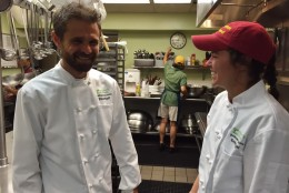 Chef Steven Badt and Chef Emily Hagel at Miriam's Kitchen. Badt came to Miriam's Kitchen 14 years ago and revolutionized the way the nonprofit feeds and serves the homeless community. (Courtesy Miriam's Kitchen)