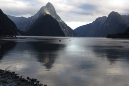 This April 12, 2014 photo shows the iconic Mitre Peak in the Fiordland National Park in Milford Sound, New Zealand. Visitors can get an up-close view of the entire fiord on a day/overnight cruise or kayak tour.  (AP Photo/Carey J. Williams)