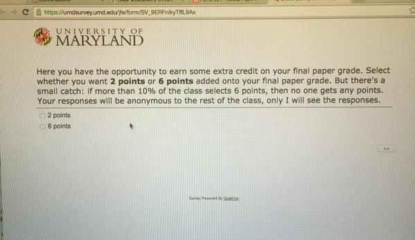 A University of Maryland student tweeted this question, an extra credit offering on a psychology final. The tweet has since gone viral. (Courtesy @shaunhin/Twitter)