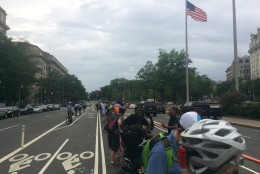 """The riders want to see protective barriers known as """"park-its"""" placed along the 1300 and 1400 blocks of Pennsylvania Avenue. (WTOP/Mike Murillo)"""