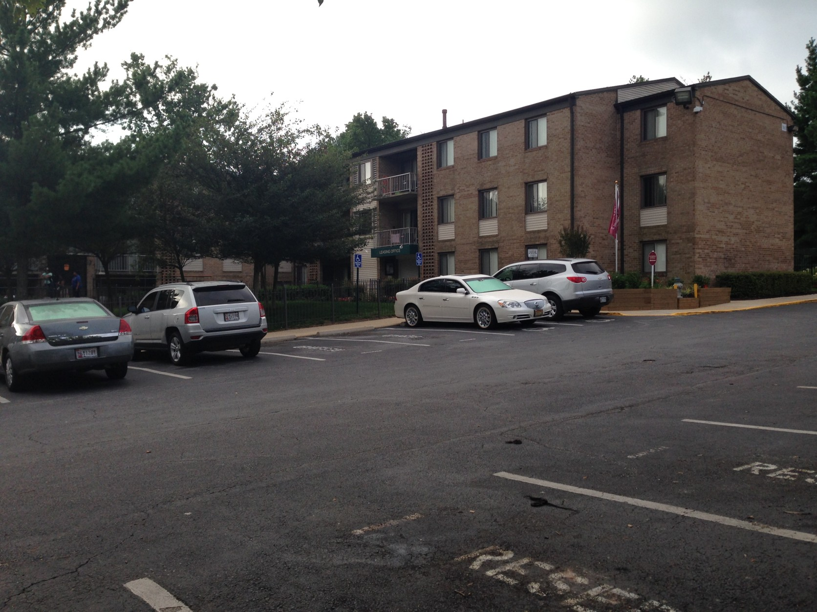 Two security guards were shot at Central Gardens Apartments in Capitol Heights, Maryland, on July 17, 2015. One died. (WTOP/Jamie Forzato)