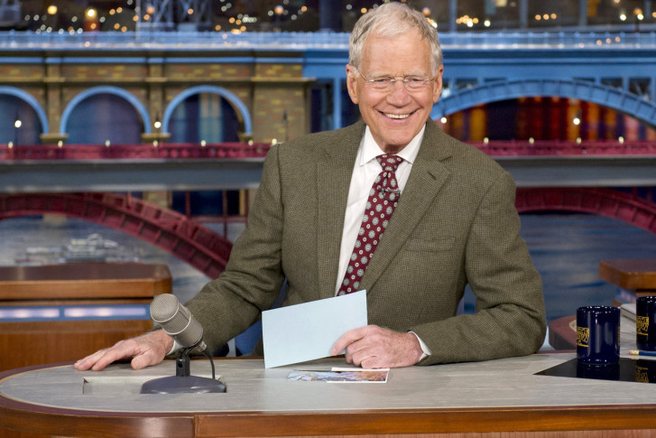 """FILE - In this April 3, 2014 file photo provided by CBS, David Letterman, host of the """"Late Show with David Letterman,"""" smiles after announcing his retirement during a taping in New York. Letterman will host his final show on May 20. (AP Photo/CBS, Jeffrey R. Staab) MANDATORY CREDIT, NO SALES, NO ARCHIVE, FOR NORTH AMERICAN USE ONLY"""