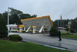 Severe weather knocked over the canopy at a Shell station in Bowie, Maryland July 1, 2015. (WTOP/Kristi King)
