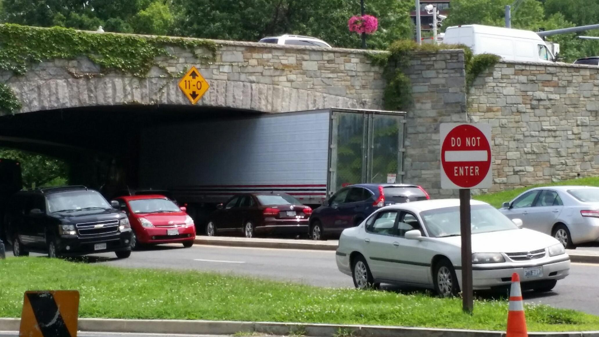 Rock Creek Parkway reopens after tractor trailer stuck in overpass