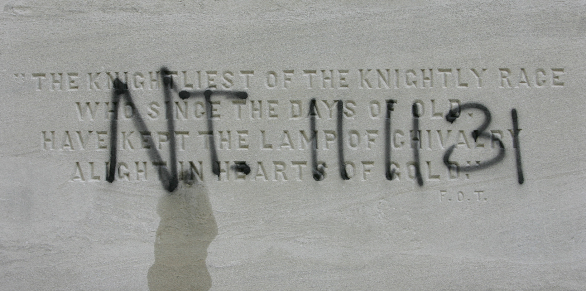 """Graffiti covers the base of the Confederate Memorial on the grounds of the Capitol, Wednesday  Nov. 14, 2007, in Montgomery, Ala. The letters and numbers """"N.T. 11 11 31"""" are believed to be a reference to slave Nat Turner, who was hanged on November 11, 1831 for starting a rebellion. (AP Photo/Rob Carr)"""