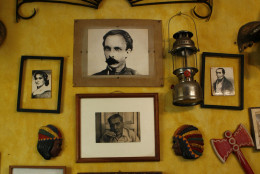 A wall at La Guarida, Havana's best known paladar, or private restaurant, is decorated with Cuban memorabilia in Havana, Monday, March 10, 2008. (AP Photo/Javier Galeano)