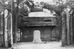 In this image provided by the Works Progress Administration, blockhouse and monument to Virginia Dare, Roanoke Island, South Carolina, Aug. 23, 1937. (AP Photo/Works Progress Administration) NO SALES