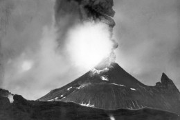 On August 24, A.D. 79, long-dormant Mount Vesuvius erupted, burying the Roman cities of Pompeii and Herculaneum in volcanic ash; an estimated 20,000 people died. This is a night-time infra-red photo of Mount Vesuvius crater near Naples, Italy in 1943. (AP Photo)