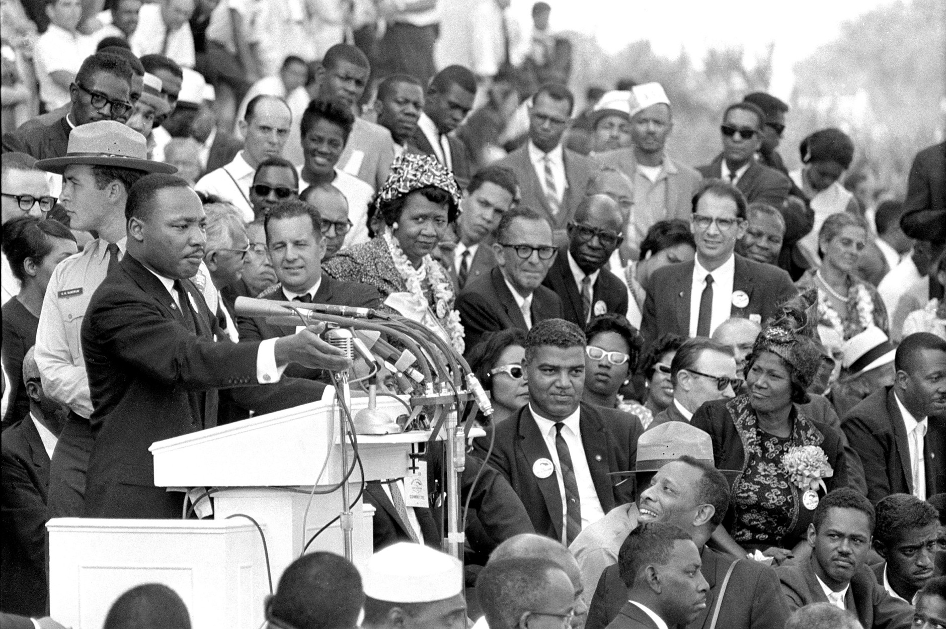 """On this date in 1963, more than 200,000 people listened as the Rev. Martin Luther King Jr. delivered his """"I Have a Dream"""" speech in front of the Lincoln Memorial in Washington D.C. (AP Photo/File)"""