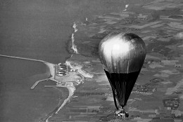 The balloon Double Eagle II crosses the French Coast near Le Havre, Aug. 17, 1978 near the end of its trans-Atlantic flight. Maxie Anderson, Ben Abruzzo and Larry Newman, all from Albuquerque, N.M. left from Presque Isle, Maine to complete the first successful crossing of the Atlantic Ocean by balloon. (AP Photo)