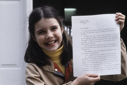 On August 25, 1985, Samantha Smith, 13, the schoolgirl whose letter to Yuri V. Andropov resulted in her famous peace tour of the Soviet Union, died with her father, Arthur, and six other people in a commuter plane crash in Auburn, Maine. Here, Smith holds the letter she received from Andropov on April 26, 1983. (AP Photo/Patricia Wellenbach)