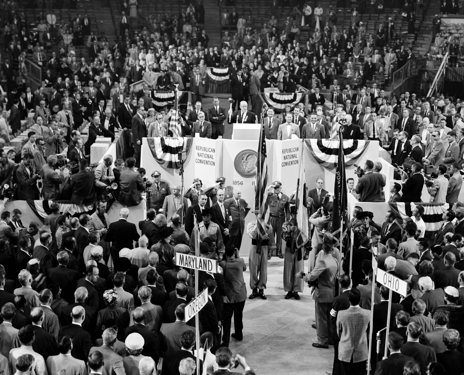 This was the scene around the speaker's rostrum as GOP national committee chairman Leonard Hall called the Republican National Convention to order, Aug. 20, 1956, in San Francisco's Cow Palace.  (AP Photo)