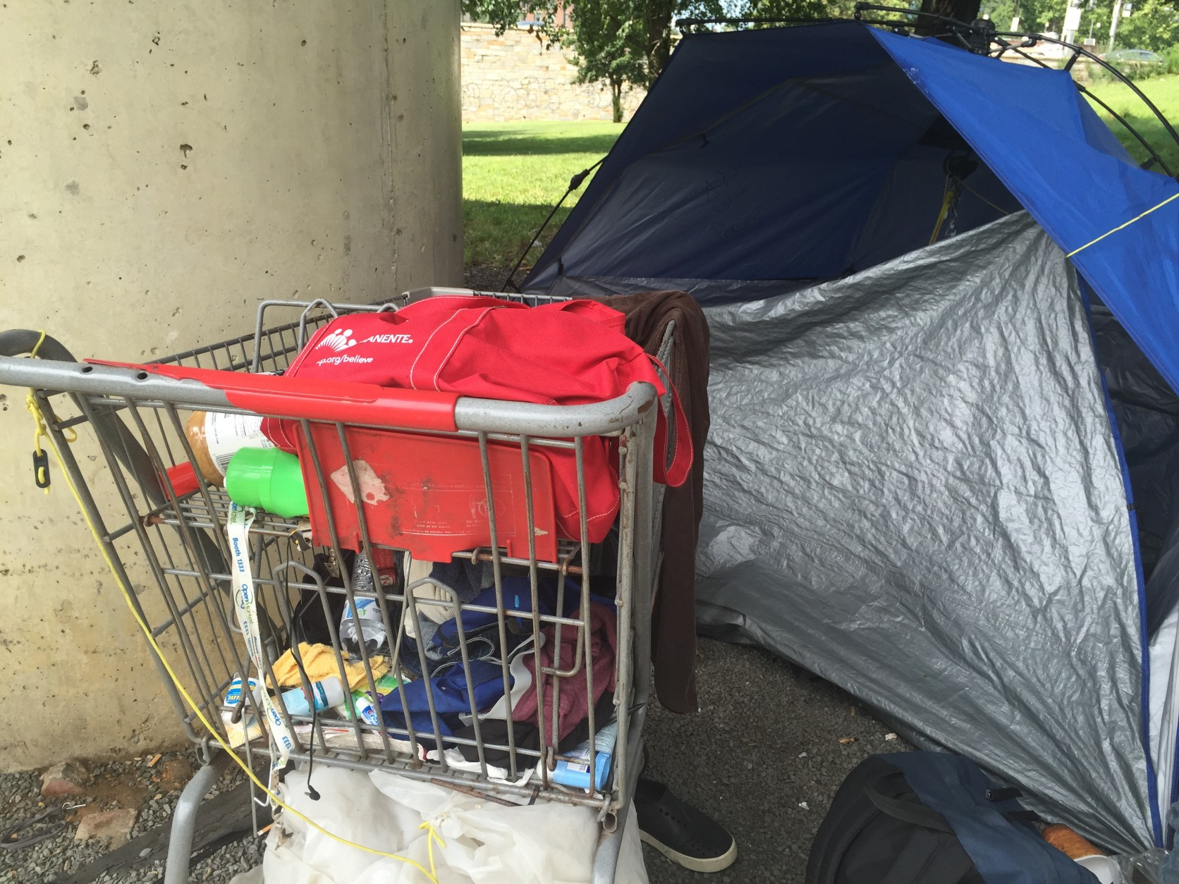 Some cities, like Seattle, are considering adding city-run homeless encampments to city limits. Some residents totally disagree with the measure. (WTOP/Andrew Mollenbeck)