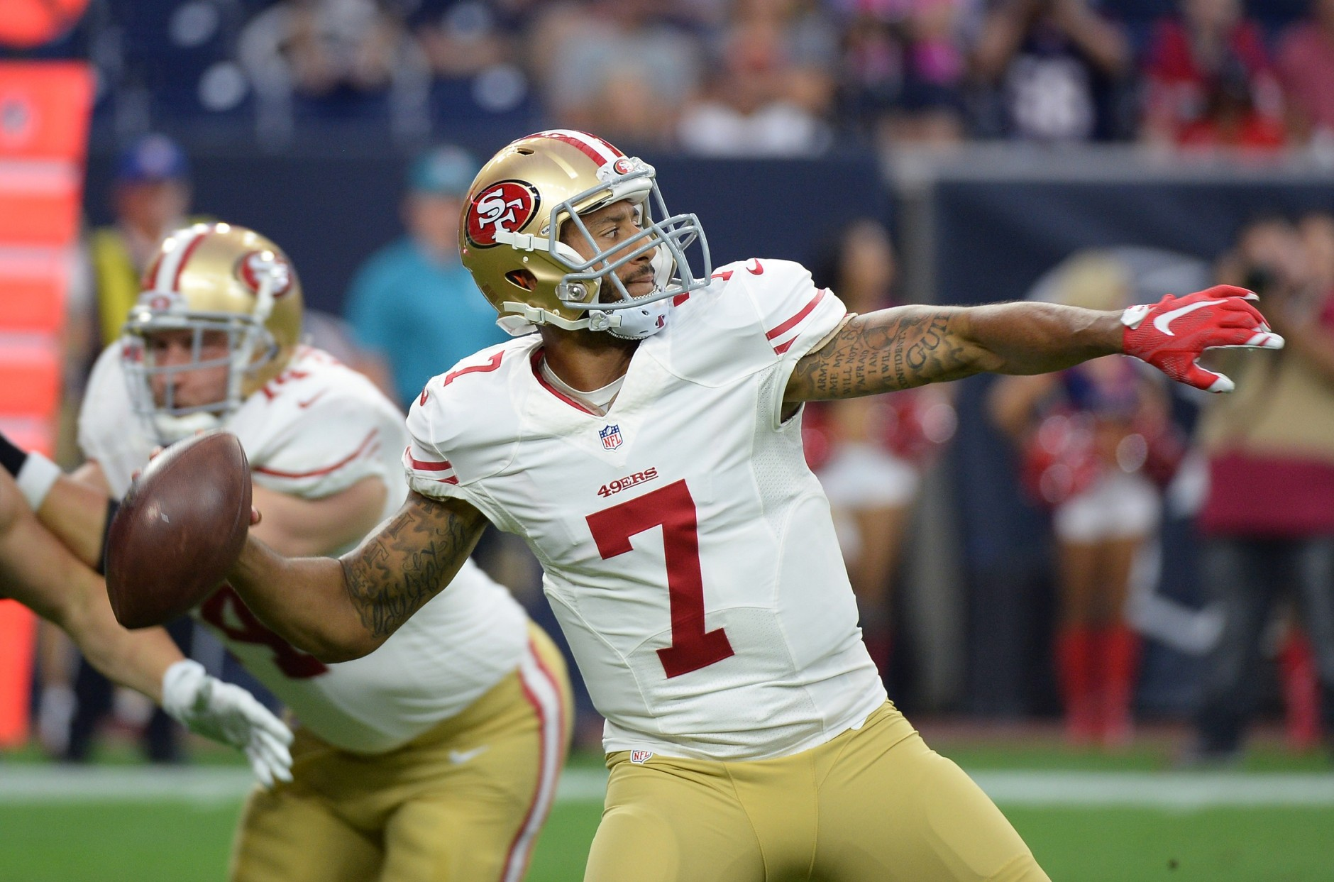 San Francisco 49ers' Colin Kaepernick (7) throws against the San Francisco 49ers during the first half of an NFL preseason football game, Saturday, Aug. 15, 2015, in Houston. (AP Photo/George Bridges)