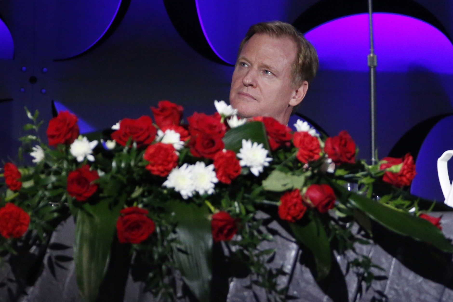 National Football League commissioner Roger Goodell attends the Pro Football Hall of Fame Gold Jacket Ceremony in Canton, Ohio, Thursday, Aug. 6, 2015. (AP Photo/Gene J. Puskar)