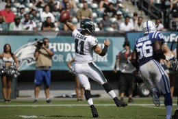 Philadelphia Eagles' Tim Tebow passes during the second half of a preseason NFL football game against the Indianapolis Colts, Sunday, Aug. 16, 2015, in Philadelphia. (AP Photo/Michael Perez)