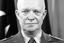 General Dwight D. Eisenhower, due to leave on January 6, for Paris to head a projected 1,000,000 man army to defend West Europe against any aggression from the East, is in uniform at the Pentagon in Washington, D.C.,  Jan. 4, 1951. In a campaign to discredit him and his North Atlantic Alliance command, West European Communists taking their cue from Moscow slashed at Gen. Eisenhower through their controlled press. (AP Photo/Henry Borroughs)