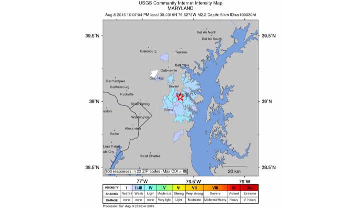 2.2 magnitude earthquake rumbles through Maryland