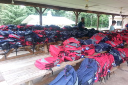 More than 500 backpacks were available at the event in College Park on Sunday. (WTOP/Rahul Bali)