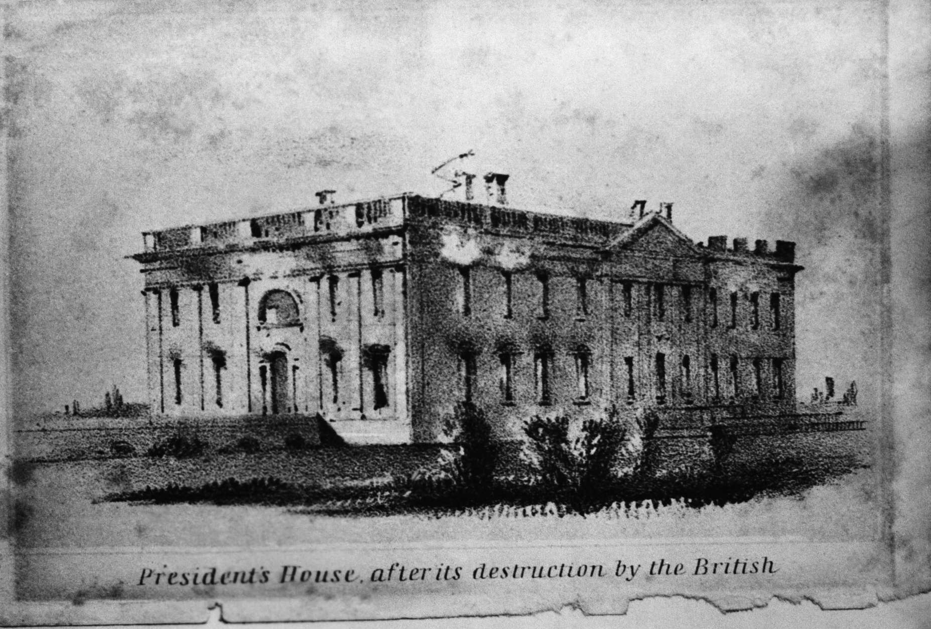 U.S. Presidents House after its destruction by the British during the War of 1812. (AP Photo)