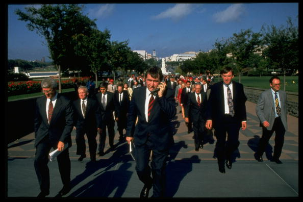 Parade of Repub. congressional incumbents & contenders marching to Capitol bldg. to sign Newt Gingrich's Contract with America during 1994 campaigns.  (Photo by Stephen Jaffe/Image Works/Image Works/The LIFE Images Collection/Getty Images)